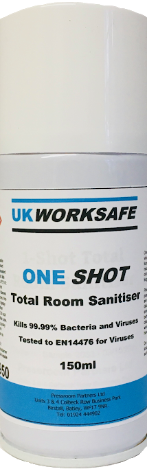 One Shot Total Room Sanitiser - 144 cans £3.75 per can 150 ml (EX VAT)